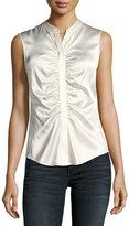 Theory Button-Front Ruched Fitted Stretch-Satin Top