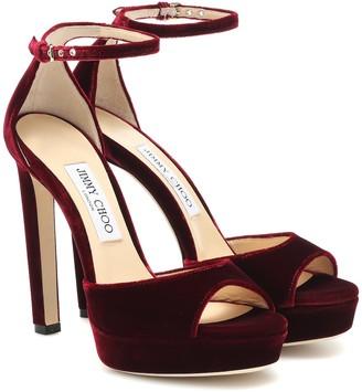 Jimmy Choo Pattie 130 velvet sandals