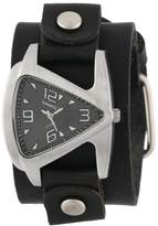 Nemesis Women's GB024K Signature Stainless Steel Triangle Shaped Leather Cuff Watch