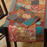 LR Resources 16 in. H x 80 in. W Cotton and Poly Recycled Sari Maroon Patchwork Table Runner