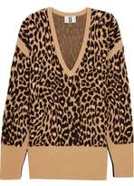 Topshop Exhall Leopard-Intarsia Jacquard-Knit Sweater