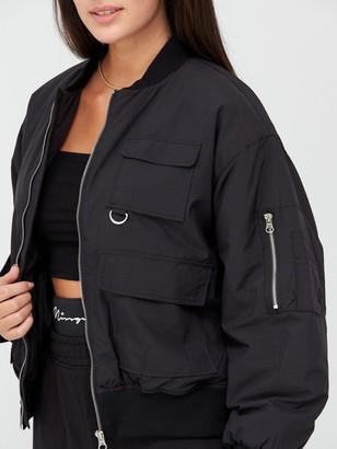 Missguided Oversized Pocket Bomber Jacket - Black