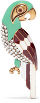 Marc Jacobs Parrot Burnished Gold-tone, Swarovski Crystal And Enamel Brooch - Green