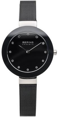 Bering Women's Stainless & Black Mesh BraceletWatch