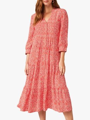 Phase Eight Penele Midi Dress, Red/Ivory