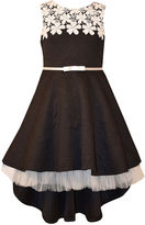 Bonnie Jean Rose Jacquard High-Low Dress with Tulle Underlay - Girls 7-16