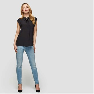 Joe Fresh Women's Silk Cap Sleeve Blouse, JF Black (Size S)