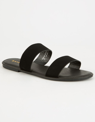 Bamboo Double Strap Black Womens Sandals