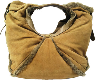 Jimmy Choo Brown Fur And Camel Leather Hobo Bag