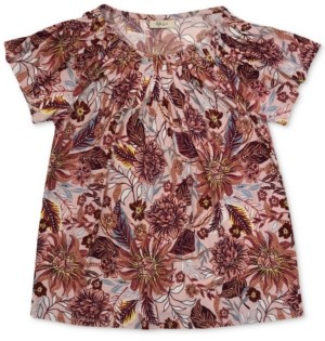 Style&Co. Style & Co Printed Pleated-Neck Top, Created for Macy's