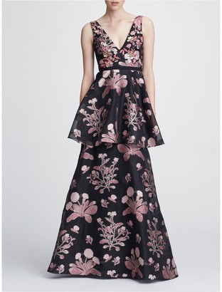Marchesa Notte Sleeveless V-Neck 3D Floral Gown