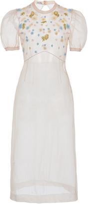 Miu Miu Sheer Organza Short Sleeve Dress