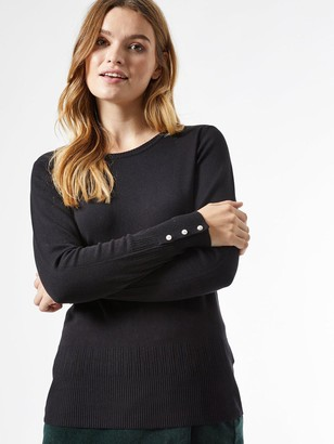 Dorothy Perkins Sustainable Pearl Cuff Crew Neck Jumper -Black