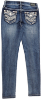 ZCO Dark Blue Faded Feather-Embroidered Skinny Jeans - Girls