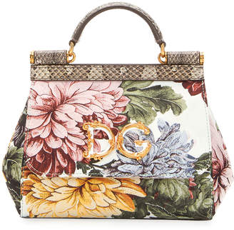 Dolce & Gabbana Sicily Mini Jacquard Top-Handle Bag