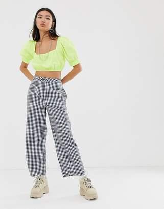 Asos Design DESIGN casual gingham straight leg trouser-Multi