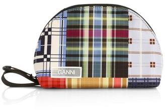 Ganni Geometric Plaid Toiletry Bag