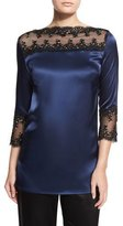 St. John Lace-Trim Liquid Satin Tunic, Ink/Caviar