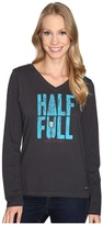Life is Good Half Full Champagne Long Sleeve Crusher Vee