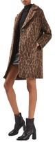 Topshop Women's Stud Trim Leopard Print Coat