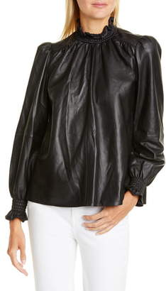 BA&SH Mylo Leather Blouse