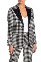 Suistudio Gingham Peak Lapel Wool Blend Tuxedo Jacket