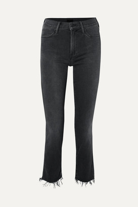 Mother The Rascal Ankle Snippet Distressed Mid-rise Skinny Jeans - Black