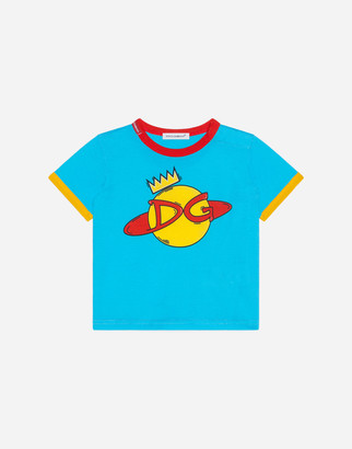 Dolce & Gabbana Jersey T-Shirt With Disco Print