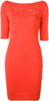 Blumarine boat neck fitted dress