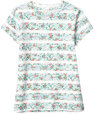 crewcuts by J.Crew Short Sleeve Floral Stripe Tee (Toddler/Little Kids/Big Kids) (Ivory/Red Multi) Girl's Clothing