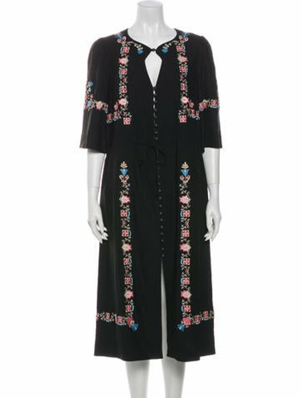 Thumbnail for your product : Vilshenko Floral Print Midi Length Dress Black