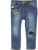 River Island Mini boys Blue badge slim fit jeans