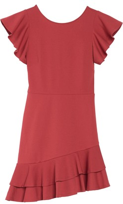 FAVLUX Asymmetrical Ruffle Hem Mini Dress