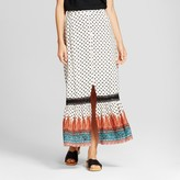 Knox Rose Women's Printed Button Front Maxi Skirt - Knox Rose Ivory