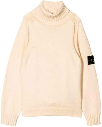 Stone Island Junior Turtleneck Cream Sweater