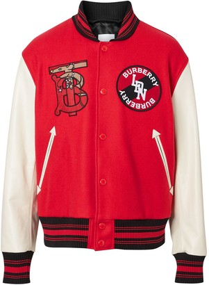 Burberry contrast sleeve monogram bomber jacket