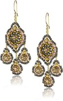 Miguel Ases Bronze Rondelle and Rose Gold Beaded Drop Earrings