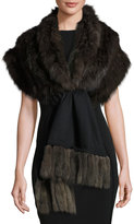 Gorski Sable Fur Stole w/ Detachable Cashmere Fringe, Black
