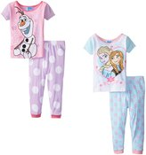 Disney Little Girls' Frozen Sisters and Olaf Polka Dot 4-Piece Pajama Set