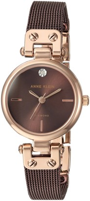 Anne Klein Women's Quartz Metal and Stainless Steel Dress Watch Color:Brown