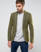 Asos Super Skinny Texture Blazer in Khaki