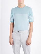 John Smedley Zester striped knitted t-shirt
