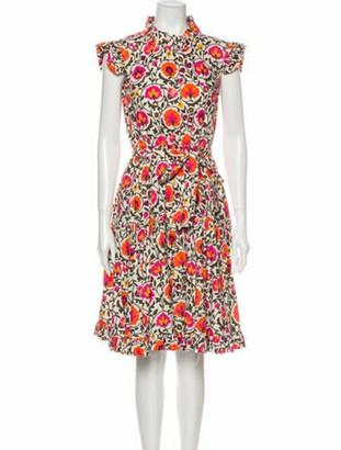 La DoubleJ Floral Print Knee-Length Dress Orange