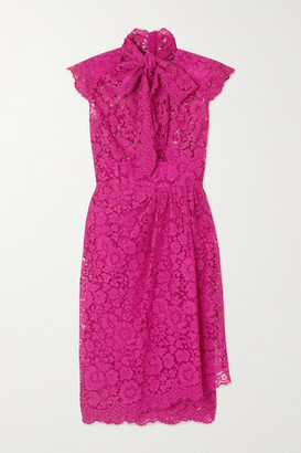 Dolce & Gabbana Pussy-bow Corded Cotton-blend Lace Dress - Pink