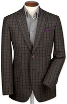 Charles Tyrwhitt Slim Fit Green and Navy Checkered Luxury British Tweed Wool Jacket Size 40