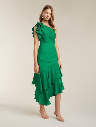 Forever New Elodie Ruffle Hem Midi Dress - Parrot Green - 10