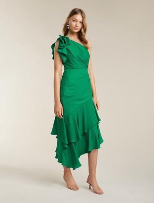 Forever New Elodie Ruffle Hem Midi Dress - Parrot Green - 12