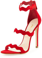 Prada Wavy-Strap Suede Sandal, Red