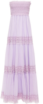Charo Ruiz Ibiza Zoe Strapless Shirred Crocheted Lace And Cotton-blend Voile Maxi Dress