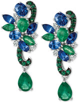 LeVian Le Vian® Precious Collection Sapphire (1-9/10 ct. t.w.), Emerald (2-1/10 ct. t.w.) and Diamond (1/5 ct. t.w.) Earrings in 14k White Gold, Only at Macy's